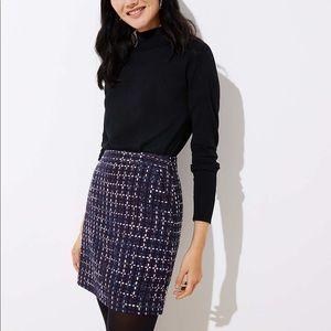 Loft navy tweed skirt 6 petite